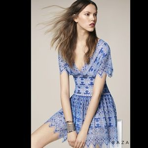BCBG Blue Taran Flutter Sleeve Blue Lace Dress
